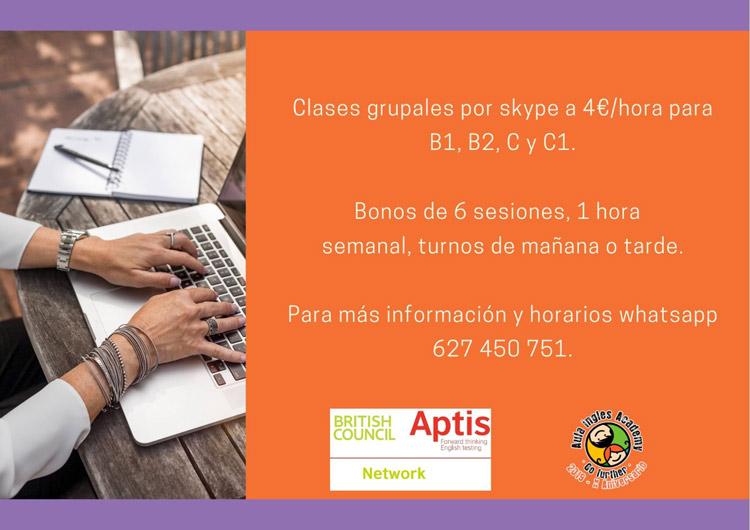 Examen Aptis: clases grupales por Skype